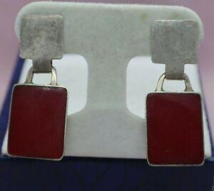 Sterling Silver Red Agate Drop Dangle Stud Earrings