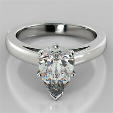 2.00 Ct Pear Cut Diamond Engagement Ring 14K Real White Gold Wedding Size N O P
