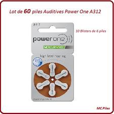 Lot de 60 piles boutons auditives A312 Power One, livraison rapide et gratuite