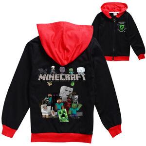 Boys Girls Minecraft Spring and Autumn Jacket Kids Sweatshirts Hoodies Wear Coat