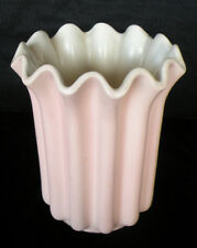VINTAGE RED WING POTTERY PLANTER VASE PINK MATTE RUFFLED TOP PATTERN #1169