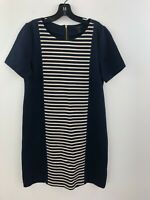 J Crew Shift Shirt Dress Women 10 Navy Blue Striped Short Sleeve Gold Zip A49-08