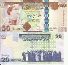 LIBYA LOT 20-50 DINARS 2009-2008  P 74-75. UNC CONDITION. QADDAFI. 4RW 01JUN