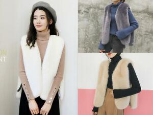 Gilet Coat Outwear Women's Faux Fox Fur Ladies Sleeveless Vest Waistcoat Jacket