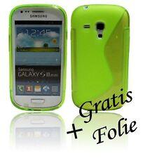 Samsung Galaxy S3 MINI Schale Handyhülle Handytasche + Schutzfolie Neon Grün