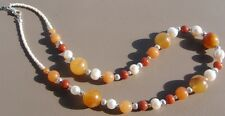 Handmade Necklace of Yellow Agate, Brown Stones and Freshwater Pearl Beads