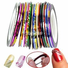 12 Rouleaux Striping decoration ongle FIL BANDES STICKER NAIL ART AUTOCOLLANT