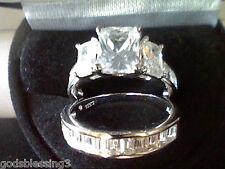 PLATINUM & SS EMERALD CUT 3.50CTW LCS DIAMOND ENGAGEMENT RING SET SZ 9 + GIFT!