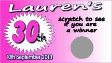 8 x Personalised Scratch Card - Birthday Fun Game 16th 18th 21st 30th 40th 50th