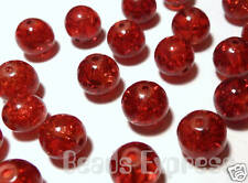 50pc Premium Quality Crackle Glass Round Beads - Wine Ruby Red 8mm AR8003