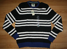 NWT Mens CLUB ROOM Black White Striped Crew Neck Sweater Size L Large $50