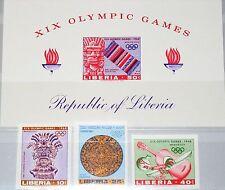 Liberia 1967 680-82 B blocco 41 B 461-63 c177 Olympics 1968 Mexico AZTEC tipo MNH