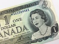 1973 Canada 1 One Dollar Circulated Replacement AA Lawson Bouey Banknote R362