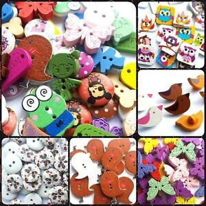 Wooden Button Colourful Mixed Animal, Flower, Cartoon Sewing DIY Handmade Craft