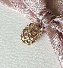 Genuine Unused Pandora 14ct Gold Hearts Spacer CHARM 750813 2