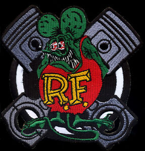 Rat Fink Patch Crossed Pistons Hot Rod Drag Race Automotive Ed Roth Motorcycle