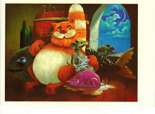 Night time: CAT AND TWO MICE ARE HAVING GOOD TIME Modern Russian postcard
