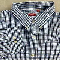 IZOD Button Up Shirt Mens 2XL Blue White Long Sleeve Cotton Check Chest Pocket
