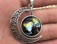 Glass Galaxy Planet Crescent Moon Pendant Necklace A70 UK Seller