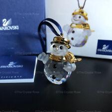 RARE Swarovski Crystal Christmas Classic Snowman Gold Ornament 655032 Boxed
