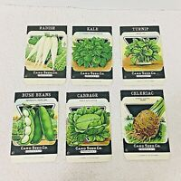 6 Antique Herbs Radish Bush Beans Cabbage Bright Color Litho Empty Card Seed
