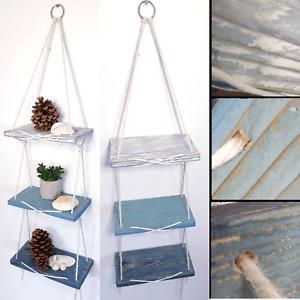 HANDMADE 3 or 2 Tier Rope Hanging Wooden Shelves Reclaimed Wood CUSTOMISED Shelf