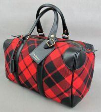 Superb designer J & M Davidson tartan checker red & black BAG / HANDBAG. Duffel.
