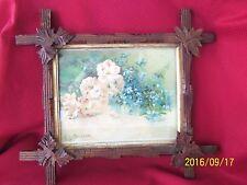 Vintage Wood Folk / Tramp Art Frame L.C. Atkinson - Azaleas and Forget  Me Nots