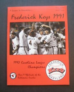 1991 Frederick Keys Class A Carolina League Orioles Affiliate Souvenir Program