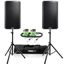 "Alto TS215 Active 15"" 1100W PA DJ Disco Speakers (Pair) inc Stands & Cables"