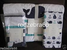 Pottery Barn Kids Navy/Aqua Hamptons Whale Crib/Toddler Quilt Sheet Sham Set 3pc