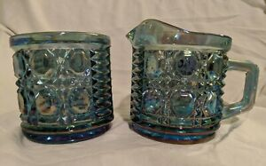 Vintage Indiana Glass Blue Carnival Creamer And Sugar
