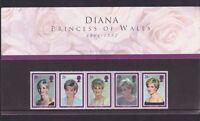 Diana Princess Of Wales Commemorative Royal Mint Stamps Set 1964-1997 J-406
