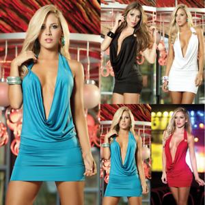 Evening Party Bodycon Women Sexy Plunge Backless Short Mini Dress Night Clubwear