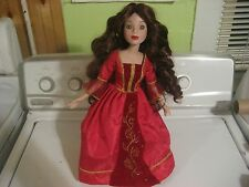 """Disney Princess Belle 16"""" Porcelain Doll Beauty & the Beast With Stand"""