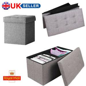 Folding Grey Linen Storage Ottoman Padded Seat Stool Chest Toys Box Pouffe Bench