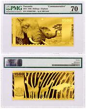 2018 Tanzania Big 5 Elephant Foil Note Gold Sh1,500 Coin PMG Gem Unc 70 SKU51831