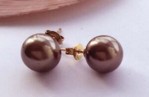 AAA 10MM Brown Sea South Shell Pearl Round Earring