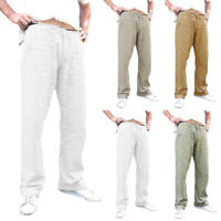 Men's Straight Casual Pants Trousers Solid Drawstring Cotton Linen Soft Summer