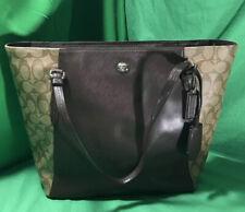Coach Tote Bag Signature PVC Zipper Handbag/Purse Tan/Brown