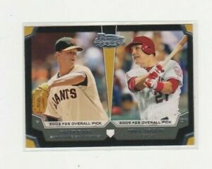 2012 Bowman Top picks #TP-CT Mike Trout/Matt Cain Mint Card