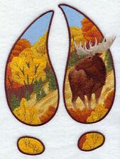 Embroidered Fleece Jacket - Moose Track Scene Autumn G6935 Sizes S - XXL