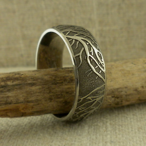 Domed 7 mm Titanium Tree of Life Wedding Ring Band Made in the USA Size 10.5