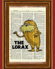 The Lorax Dr. Seuss Dictionary Art Print Picture Poster Book Nursery Gift