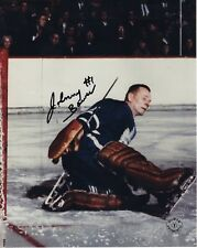 JOHNNY BOWER HAND SIGNED 8x10 COLOR PHOTO+COA     HOF TORONTO MAPLE LEAFS GOALIE