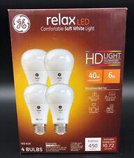 Ge Relax Light Bulb LED 40W Dimming Long Life 4pk New