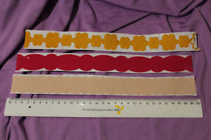 Stickerbogen - 3 Bordüren - Blüten -rot gelb beige - Basteln - Kartengestaltung