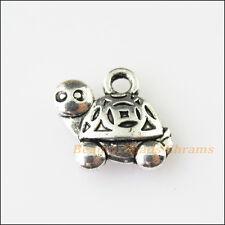 6Pcs Antiqued Silver Tone Animal Tortoise Turtle Charms Pendants 13x15mm