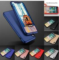 Hybrid 360° Ultra thin Case Tempered Glass Cover For iPhone XS Max XR 6 7 8 Plus