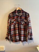 Vintage Men's ARROW Plaid Red WOOL SHIRT Size Medium
